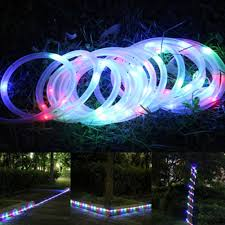 Amazoncom  Solar Christmas Lights Outdoor White LED Rope Fairy Solar Rope Christmas Lights