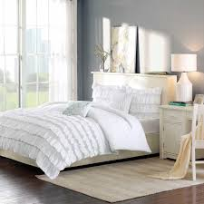 enchanting white ruffle comforter for bedroom decoration ideas