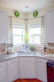Cute Kitchen Kitchen Cute Kitchen Sink Window Curtain Ideas With White Grey