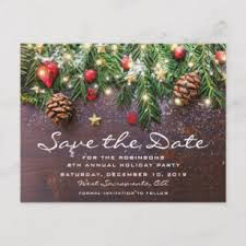 Christmas Party Save The Date Templates Rustic Christmas Holiday Party Save The Date Announcement Postcard