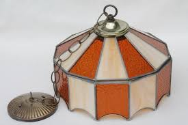 vintage leaded glass shade light fixture amber stained glass pendant hanging lamp