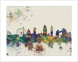 london skyline painting london skyline by watercolormaps chriary ann