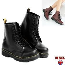 Details About Uk Womens Ankle Boots Combat Army Military Biker Flat Lace Up Work Shoes Black