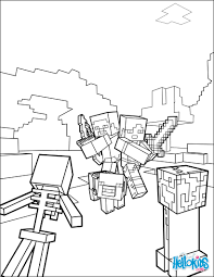 Small Picture Fight all the Mobs coloring page on Minecraft video game More