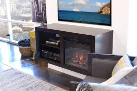 Mid Century Modern Retro Floating Media Console With Fireplace Floating Fireplace