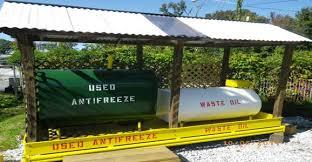 aboveground tanks holding used motor oil and used antifreeze