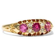 details about dated 1904 antique ruby diamond ring in 750 gold enement ring