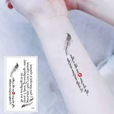Senarai Harga X 535 Creative Feather Letter Art Temporary Tattoo