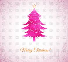 Pink Christmas Card Greeting Card Merry Christmas With Abstract Pink Christmas Tree
