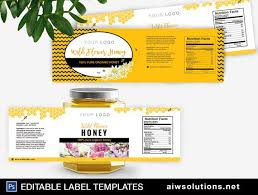 Package Label Template Gorgeous Honey Label Template Honey Packaging Honey Labels Template Etsy