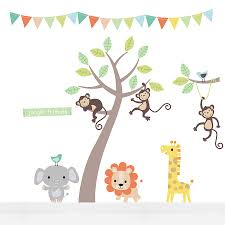 pastel jungle animal wall stickers on jungle animal wall art with pastel jungle animal wall stickers by parkins interiors