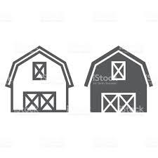 farm barn clip art. Farm Barn Line And Glyph Icon, Farming Agriculture, Hangar Sign Vector Graphics Clip Art