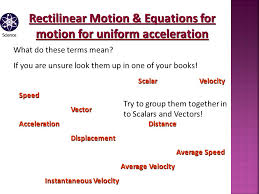 3 rectilinear motion equations for motion for uniform acceleration scalar velocity sdvector accelerationdistance displacement average sd average