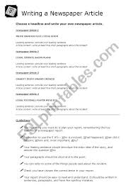 Writing A Newspaper Article Writing A Newspaper Article Guidelines Esl Worksheet By