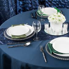polyester 108 round tablecloth navy blue