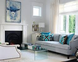 Blue and grey living room with fireplace ideas