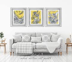 on grey and mustard yellow wall art with set of 3 mustard yellow decor yellow wall art yellow grey