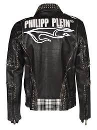 Leather Jacket With Design On Back Best Price On The Market At Italist Philipp Plein Philipp Plein Inside Checked Print Back Logo Print Biker Jacket