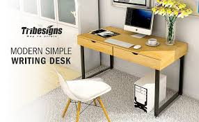 tribesigns 47 writing desk modern simple computer desk home office study table with drawer sy large capacity
