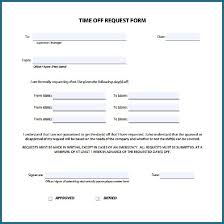 Time Off Request Form Free Printable 260