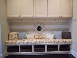 Living Room Bench Seating Storage Living Room Futuristic Bay Window Design With Brown Curtain And