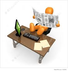 office relaxation. Laziness Concept Images: 3d Person Relaxing At The Office Reading His Newspaper . Relaxation E