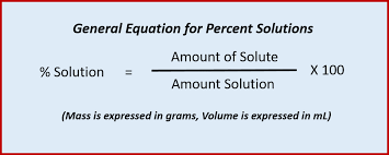 thus the following equation can be used when calculating percent solutions