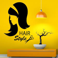 hairstyle beauty salon wall art stickers home decor waterproof hairdressing beautiful girl all wall stickers alphabet wall stickers from xymy757