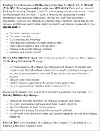 Resume Templates: Banking Relationship Manager