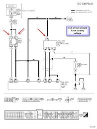2000 nissan frontier std 3 3 cranks wont start no spark here is a wiring diagram for you to go through and check you should have battery voltage at the red arrows graphic graphic