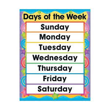 Days Of The Week Chart For Toddlers Sing 2 Speak Ldn