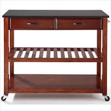 solid black granite top classic cherry kitchen cart island optional stool storage kf30054ch crosley furniture