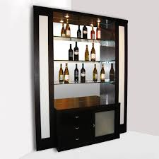 glamorous home bar cabinet designs with black color and wooden material also transpa glass