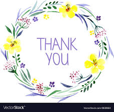 Watercolor thank you cards Leaf Vectorstock Thank You Card With Watercolor Floral Bouquet Vector Image