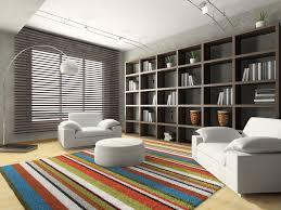 ... Amazing Living Room Window Blind Ideas Brown Faux Wood Horizontal Blinds  Colorful Shag Area Rug Grey ...