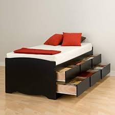 Amazon.com: Black Tall Twin Captain's Platform Storage Bed with 6 ...