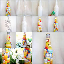 how to paint pretty acrylic painting on bottles step by step diy tutorial instructions