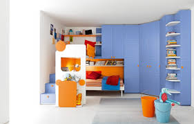 modern childrens bedroom furniture ideas displaying blue curved wardrobe by using orange finish steel knobs plus white floating bookshelves on the right