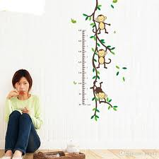 Child Height Chart For Wall Height Chart Wall Decals Naughty Monkey Cartoon Decor Stickers For Kids Bedroom For Nursery Playroom Wall Sticker Word Wall Stickers World Map Wall