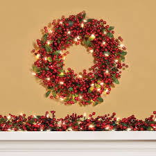 holly berry pre lit garland for chic fireplace accessories ideas