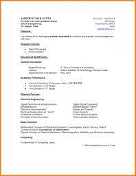 Undergraduate College Resume Format Curriculum Vitae Pdf Student