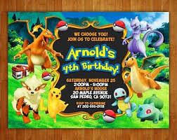 Pokemon Birthday Invitation Etsy