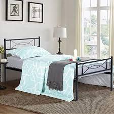 Amazon.com: SimLife Metal Bed Frame Twin Size 6 Legs Two Headboards ...