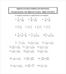 sample algebraic subtraction worksheet 9 doents in pdf