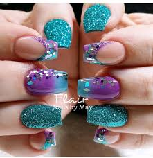 Purple And Teal Nail Designs Teal And Purple Purple Nails Peacock Nails Nails