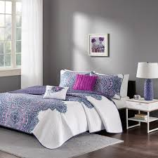 Echo Design Bed Bath And Beyond Mila Coverlet Set Purple Full Queen Mila Coverlet Set Provides An Eye Catching Update To Your Bedroom The Textured Ground Has Small Grey Circles