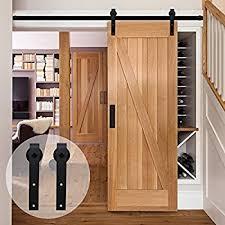 ccjh american country flat style steel sliding barn door hardware interior for single door black 4ft