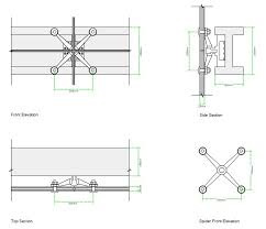 construction detailing of the spiders for the glass curtain wall circulation tower