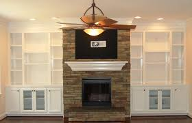 built in bookcases around fireplace design