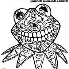 Small Picture day of dead coloring page starring kermit frog fab find Coloring